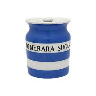 Vintage English Cornishware Demerara Sugar Jar For Sale