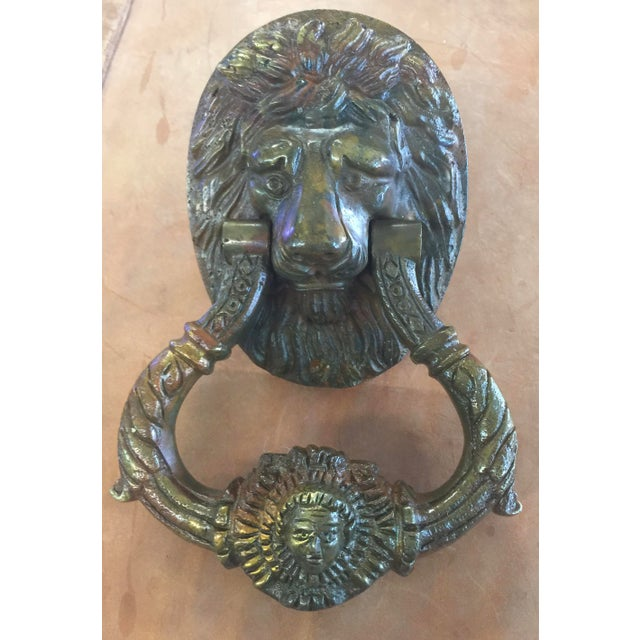 English Traditional Antique Brass Lion Door Knocker For Sale - Image 3 of 3