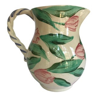 Vintage Pink and Green 1980's Hand Painted Vietri Italian Pitcher For Sale