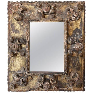 17th Century Antique French Carved Giltwood Mirror For Sale