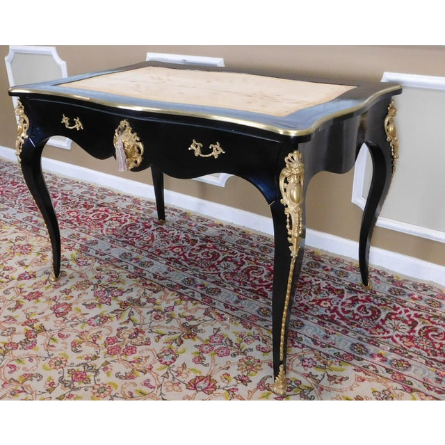 Partially Restored Antique French Louis XV Regency Style Black Lacquered Bureau Plat Desk C1900 For Sale - Image 9 of 12
