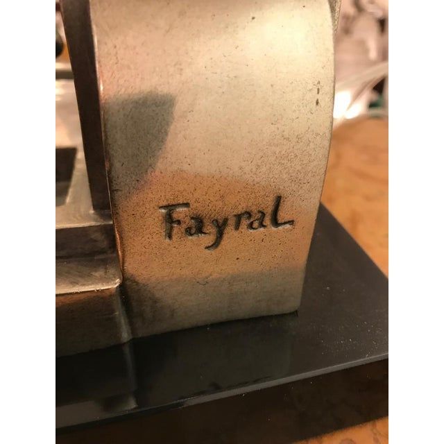 Art Deco Female Bronze Table Lamp Signed by Fayral - Image 10 of 11
