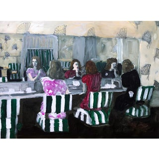 """""""Stork Club Ladies Room"""" Contemporary Figurative Interior Scene Mixed-Media Painting by Christy Powers For Sale"""