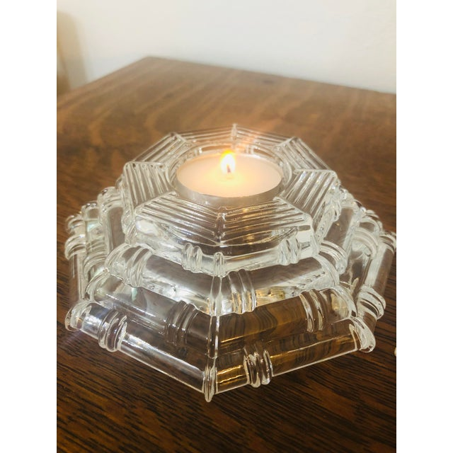 Glass Vintage Glass Bamboo Pattern Tea Light Holders - a Pair For Sale - Image 7 of 8