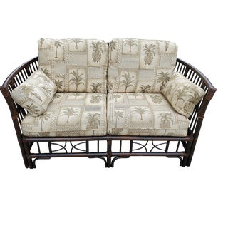 1990s Vintage Tropical Style Bamboo Loveseat For Sale
