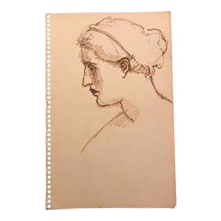 1960s Vintage Portrait of a Woman in Profile Drawing For Sale