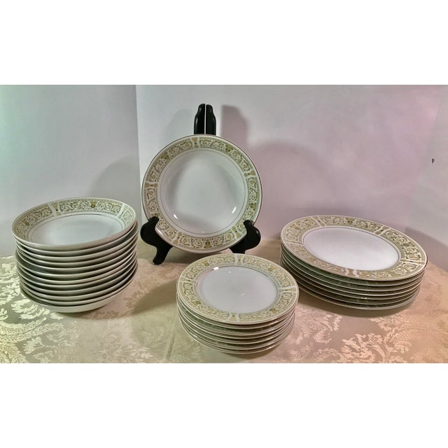 "Beautiful set of Mid-Century fine China from Japan. This green and cream pattern is called ""Felicity"" by Daniele...."
