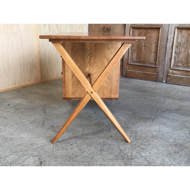 1950's Maple X-Leg Desk With Bookcase For Sale - Image 4 of 13