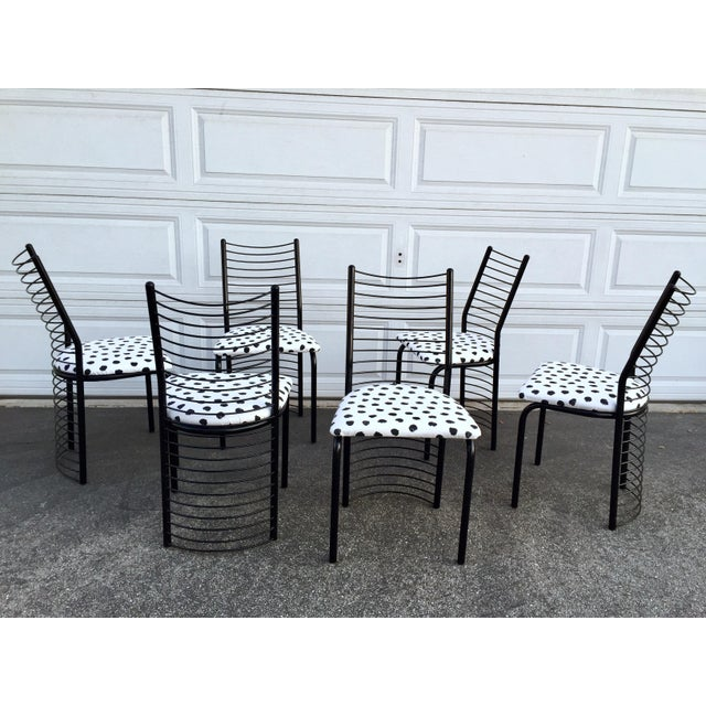 Metal Modern Regency Style Wire Barrel Chairs - Set of 6 For Sale - Image 7 of 7