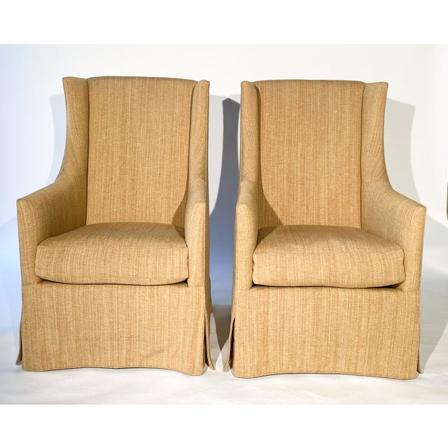 French 19th C. Design Wingback Armchairs - A Pair For Sale - Image 12 of 12