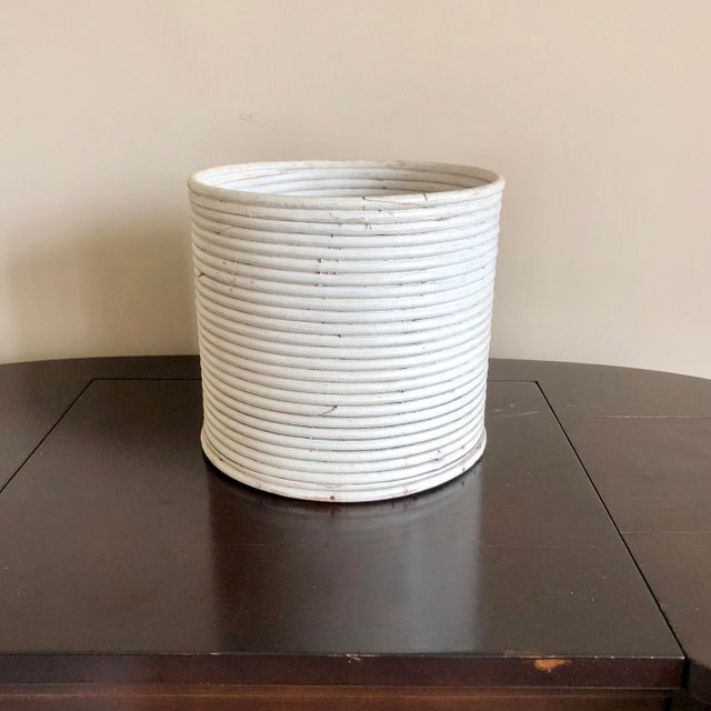 White Pencil Reed Rattan Planter For Sale - Image 4 of 4