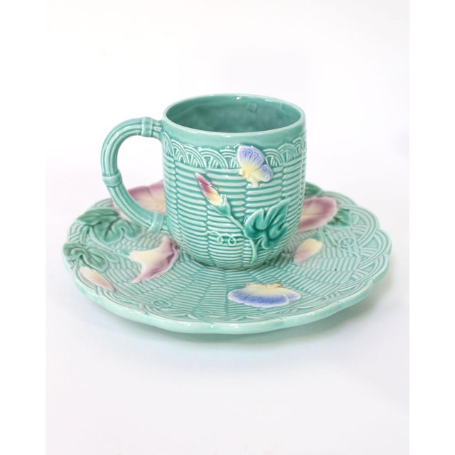 Shabby Chic 80's Majolica Luncheon or Dessert Tea Set, Morning Glory Pattern Set of 11 For Sale - Image 3 of 11