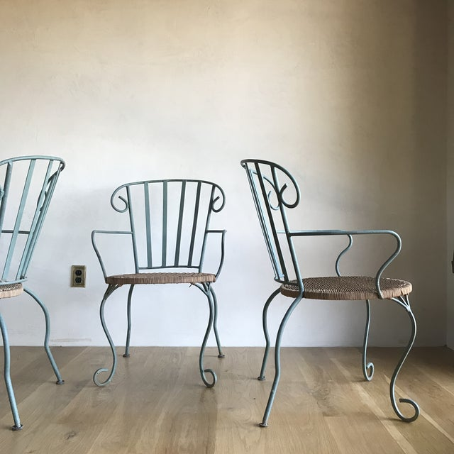 Modern Vintage Verdigris Iron and Woven Rattan Dining or Patio Chairs-Set of Four For Sale - Image 3 of 13