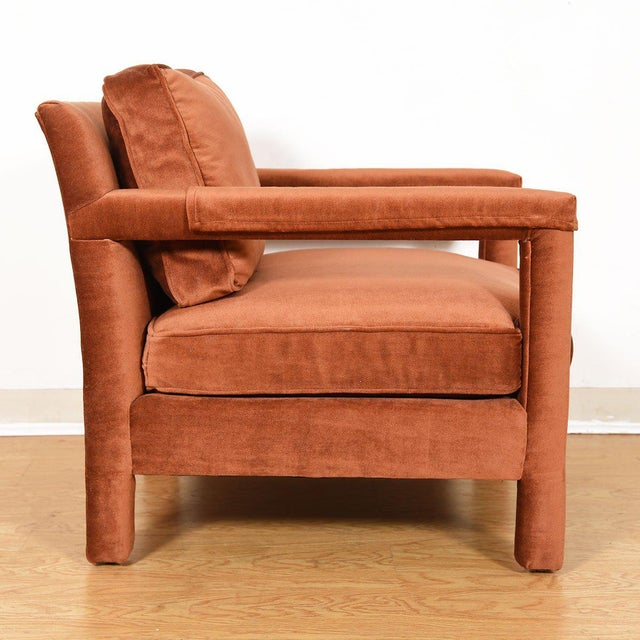 Copper Crushed-Velvet Upholstered Club Chair For Sale In Washington DC - Image 6 of 10