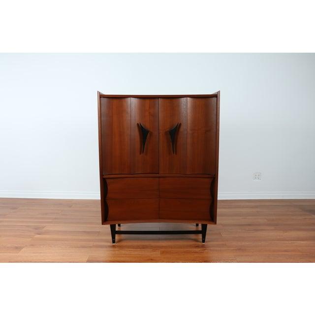 Mid Century Walnut Highboy Dresser - Image 2 of 4