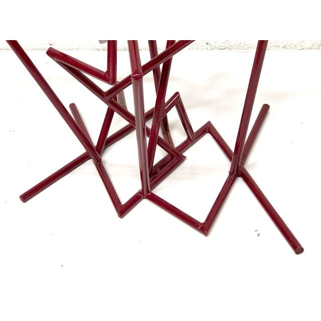 Red Sculptural Enamel Metal Post Modern Table For Sale - Image 8 of 9
