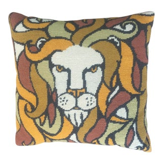 Vintage Hand Made Needlepoint Pop Lion For Sale