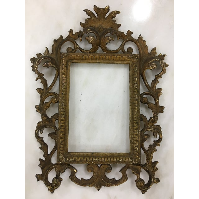 Antique Brass Toned Metal Frame For Sale In Charleston - Image 6 of 6