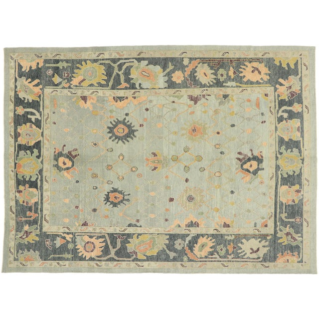 Contemporary Turkish Oushak Rug With Modern Style - 10'03 X 14'02 For Sale - Image 9 of 9