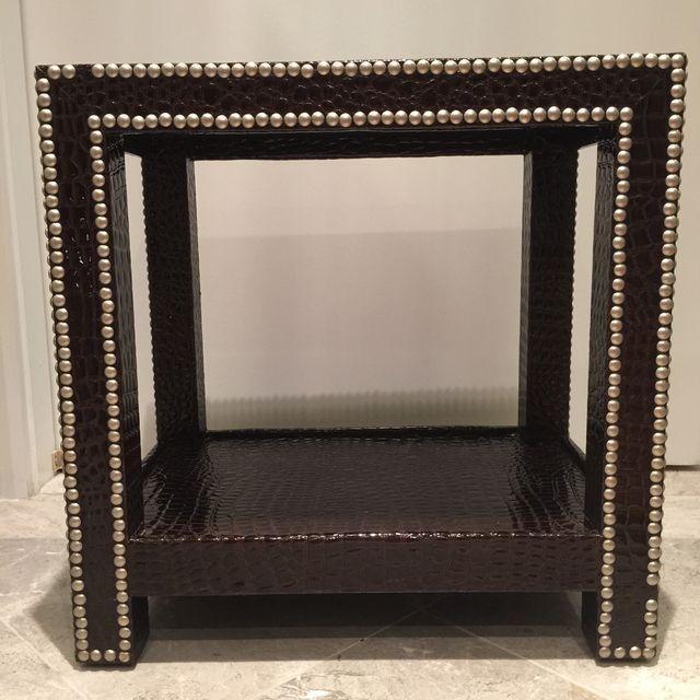 Crocodile-Embossed Leather Side Table - Image 7 of 10