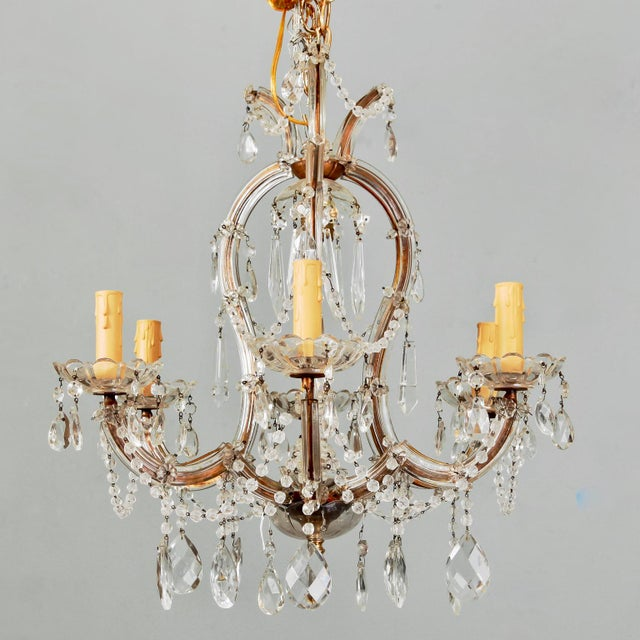 Small French Seven Light Maria Theresa Crystal Chandelier For Sale In Detroit - Image 6 of 6