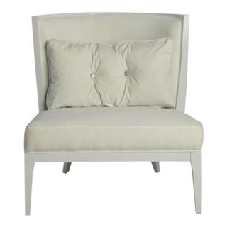 Transiitonal Velvet and Silk Corset Tub Chair For Sale