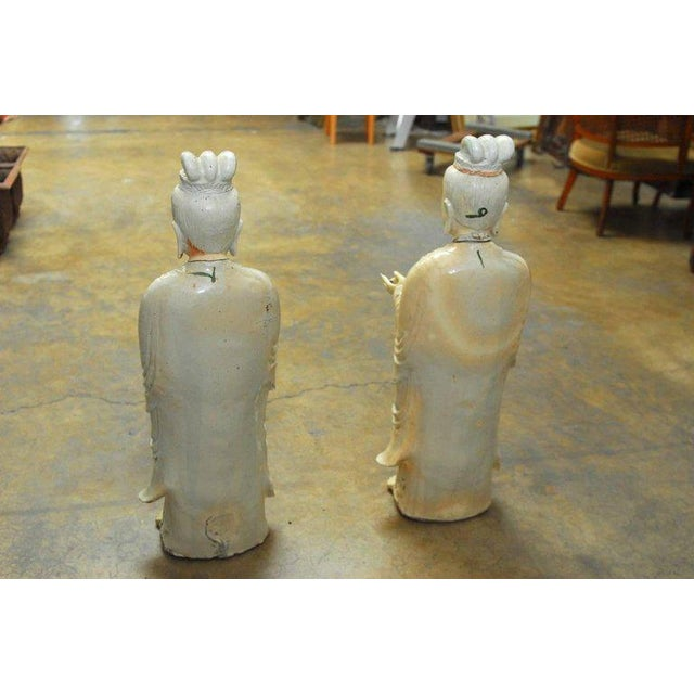 Ceramic Pair of Chinese Glazed Ceramic Celestial Deities For Sale - Image 7 of 10