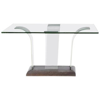 Contemporary Glass and Wood Centre Table For Sale