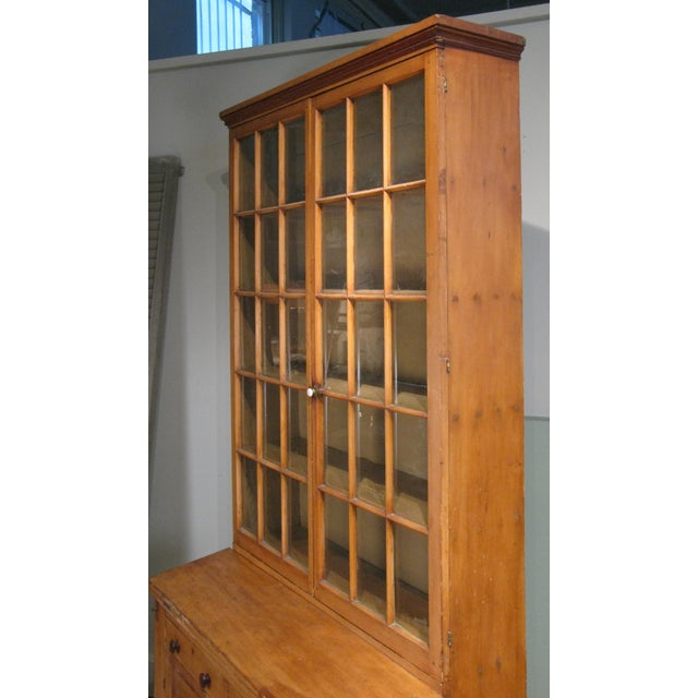 Glass Antique 19th Century Pine Secretary Bookcase Desk For Sale - Image 7 of 8