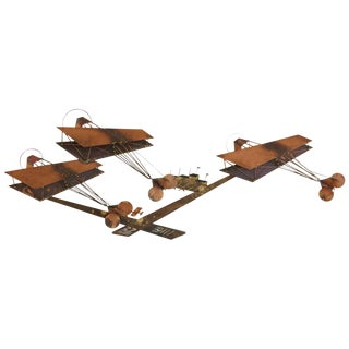 Curtis Jere Brass Wall Sculpture of Airplanes and Airfield, Signed, 1970s For Sale