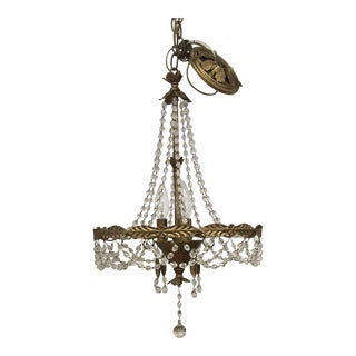 Shabby Chic Gold Tole Beaded Crystal Chandelier For Sale