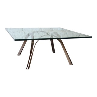 Roger Sprunger Style Mid-Century Brass and Glass Coffee Table For Sale