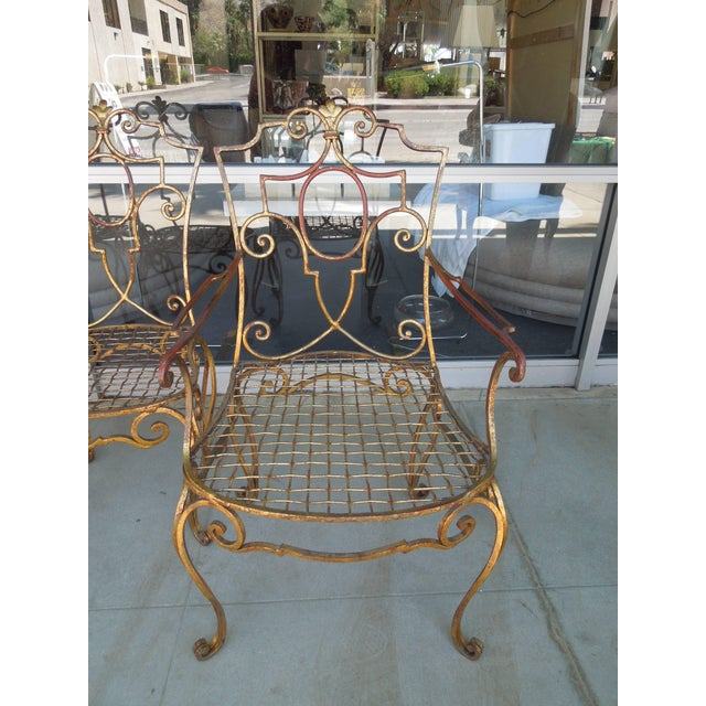 Jean-Charles Moreux French Moderne Gold Gilt Iron Chairs by Jean-Charles Moreux - Set of 4 For Sale - Image 4 of 10