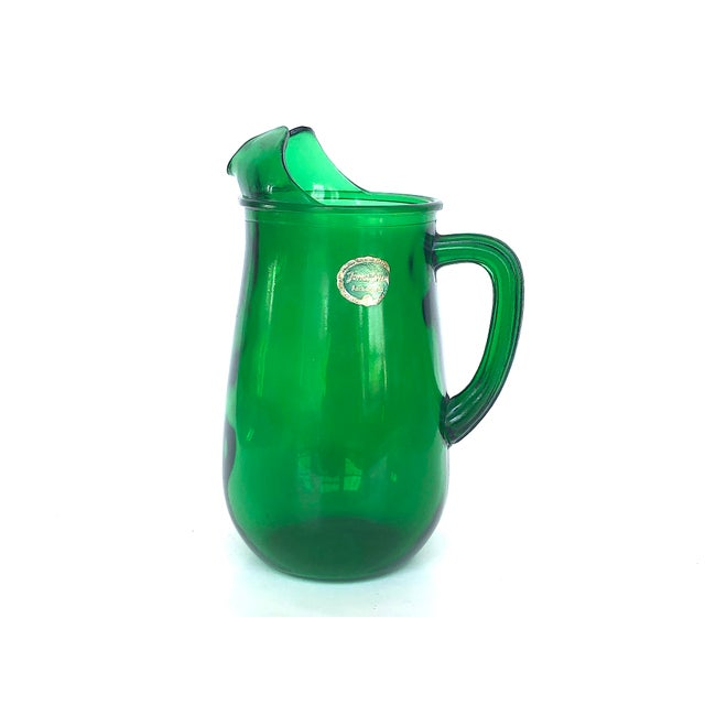 Vintage Anchor Hocking Forest Green Glass Pitcher For Sale - Image 12 of 12