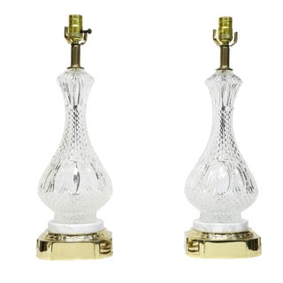 1960s Set of French Crystal Table Lamps - a Pair For Sale