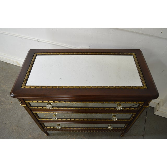 EJ Victor Julia Gray Collection Mirrored Louis XVI Style Chest Commode For Sale - Image 5 of 10