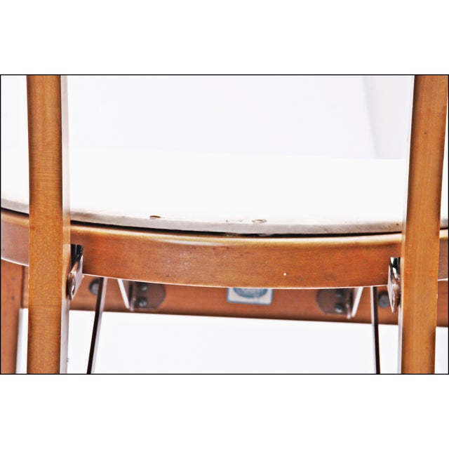 Mid Century Modern Stakmore White Vinyl Wood Folding Chairs - A Pair For Sale - Image 6 of 11
