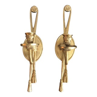 Brass Rope & Tassel Candle Holder Wall Sconces - A Pair