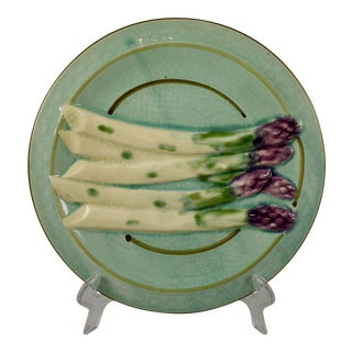 Sarreguemines French Faïence Turquoise Asparagus Plate For Sale