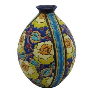 Boch Freres Ceramic Floral Vase For Sale
