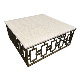 Sherrill Modern Stone Top Square Cocktail Table For Sale