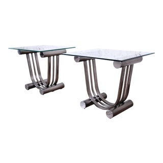 Design Institute America Art Deco Style Chrome and Glass Side Tables - a Pair For Sale