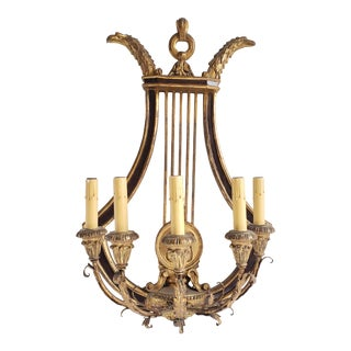 Antique Friedman Brothers Neoclassical Style Giltwood Lyre Back Sconce For Sale
