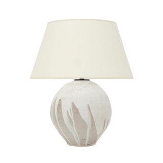 Handmade Studio Stoneware Table Lamp With Matte White Drip Glaze For Sale