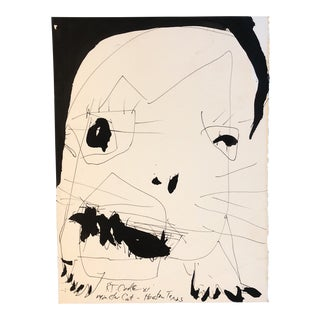 "Original Robert Cooke Vintage Painting ""Monster Cat"" For Sale"