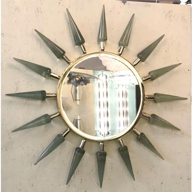 Italian mirror with smoky handblown Murano glass spikes on 24-karat gold-plated frame. Diameter: 44 inches / Height: 3.5...