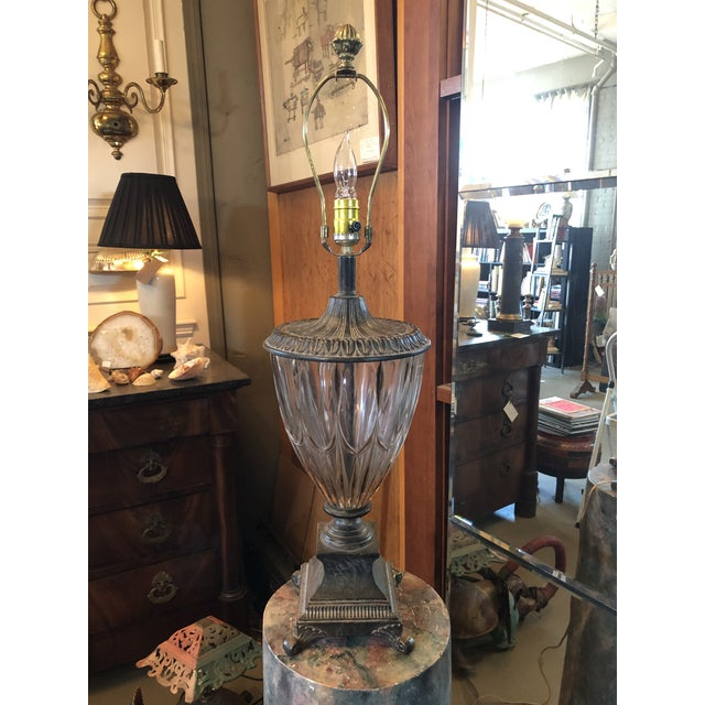 Vintage Neoclassical Crystal Table Lamp For Sale - Image 9 of 13