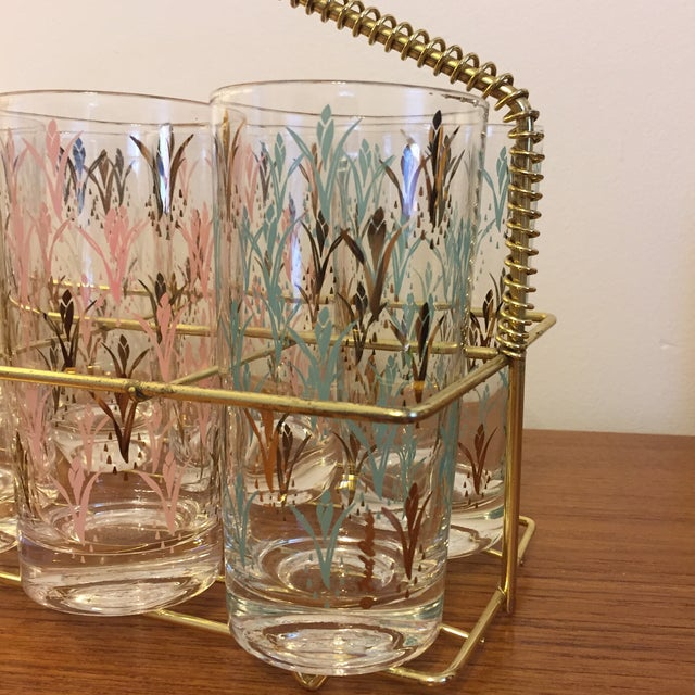 Mid-Century Modern Fred Press Vintage Drink Caddy & Glasses For Sale - Image 3 of 8