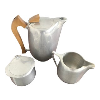 "1950's English ""Piquot Ware"" Aluminum Coffee, Cream & Sugar - 3 Piece Set For Sale"