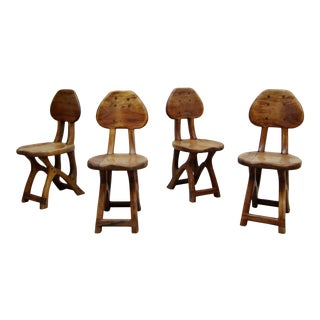 Set of 4 California Modern Studio Craft Solid Wood Chairs by Chuck Burdick